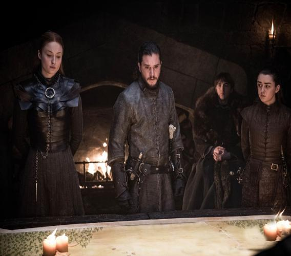 """This image released by HBO shows from left, Sophie Turner, Kit Harington, Isaac Hempstead Wright, and Maisie Williams in a scene from """"Game of Thrones,"""" that aired Sunday, April 21, 2019. With the Game of Thrones' Jon Snow revealing his royal lineage to his potential rival Daenerys Targaryen, the beleaguered army at Winterfell is about to find out if two chief executives better than one. (Helen Sloan/HBO via AP)"""