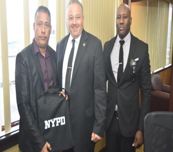 Police Commissioner Gary Griffith is paid a courtesy call by representatives of the New York Police Department (NYPD) on May 20, 2019. Photo courtesy the Trinidad and Tobago Police Service (TTPS).