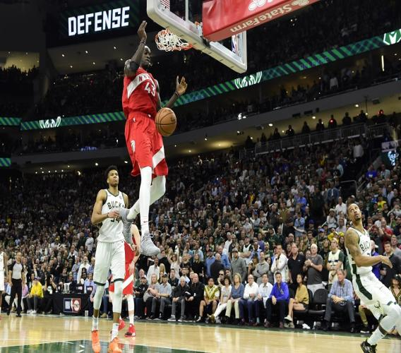 Toronto Raptors forward Pascal Siakam (43) dunks against the Milwaukee Bucks late in the second half of Game 5 of the NBA basketball playoffs Eastern Conference finals in Milwaukee on Thursday, May 23, 2019. Toronto won 105-99.