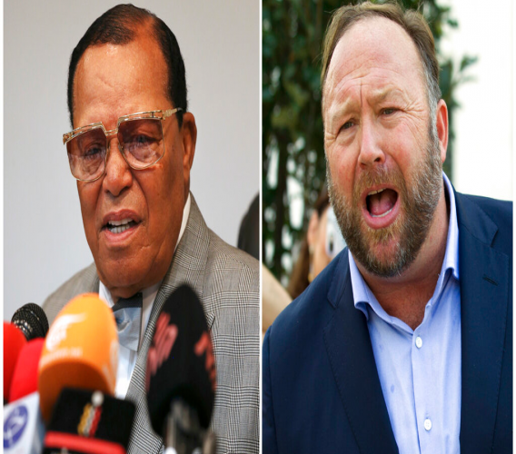 This combination of file photo shows minister Louis Farrakhan, the leader of the Nation of Islam, in Tehran, Iran, on Nov. 8, 2018, left, and conspiracy theorist Alex Jones in Washington on Sept. 5, 2018, right. (AP Photo)