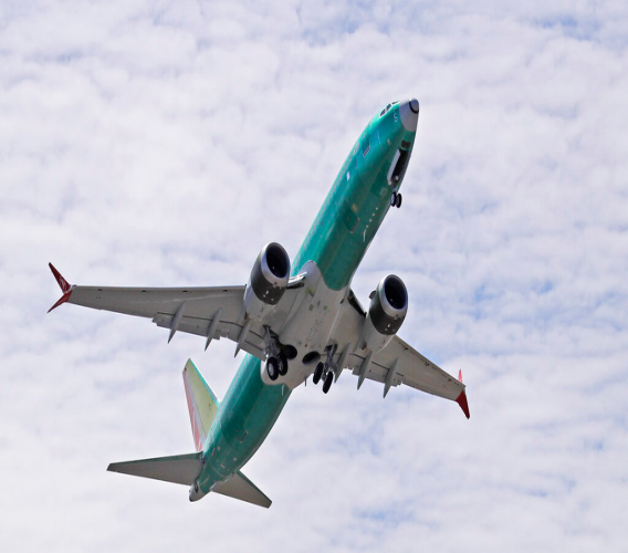 FILE - In this May 8, 2019, file photo, a Boeing 737 MAX 8 jetliner being built for Turkish Airlines takes off on a test flight in Renton, Wash. Boeing is selling its 737 Max planes again. The company announced at the Paris Air Show on Tuesday, June 18 that International Airlines Group signed a letter of intent for 200 Boeing 737 aircraft. (AP Photo/Ted S. Warren, File)