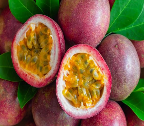 Stock photo of a fresh passion fruit.