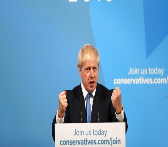Boris Johnson gestures as he speaks after being announced as the new leader of the Conservative Party in London, Tuesday, July 23, 2019. Brexit champion Boris Johnson won the contest to lead Britain's governing Conservative Party on Tuesday, and will become the country's next prime minister. (AP Photo/Frank Augstein)