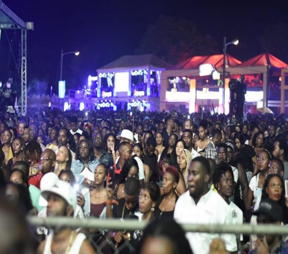 A section of the crowd during a performance on Festival Night 1 (Dancehall Night) in 2018.