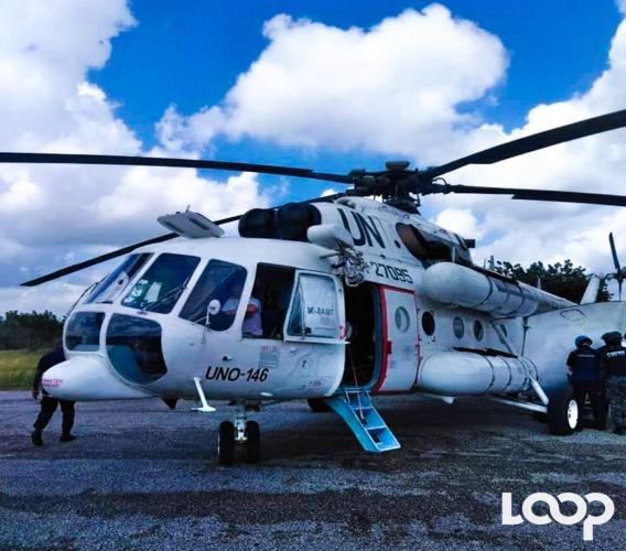 L'hélicoptère UN-RA 27095 ayant assuré le transport vers la capitale du chef de gang / Photo: Max Warens Jeanty