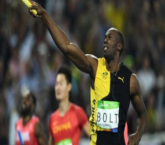 Usain Bolt celebrates after anchoring Jamaica's to the gold medal in the 4x100m relay at the 2016 Olympics in Rio, Brazil.
