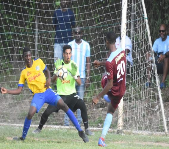 Naeem Cameron of St George's College takes a shot at goal during their ISSA/Digicel Manning Cup game at Ardenne High on Saturday, September 14, 2019, (PHOTOS: Marlon Reid).