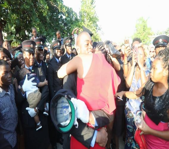 Jerome Gardner popped the question at the Jamaica Fire Brigade's recent graduation parade.