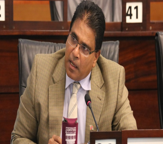 Oropouche East MP Dr. Roodal Moonilal posing a question. © 2019 Office of the Parliament.