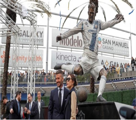 David Beckham and his LA Galaxy statue.