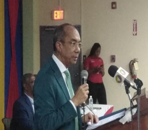 Dr Horace Chang speaking in Montego Bay on Thursday.