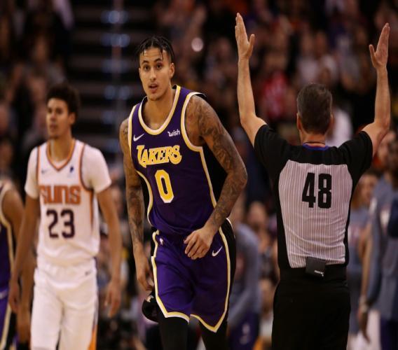 Kyle Kuzma des Los Angeles Lakers lors du match de NBA face aux Suns, à Phoenix, le 12 novembre 2019