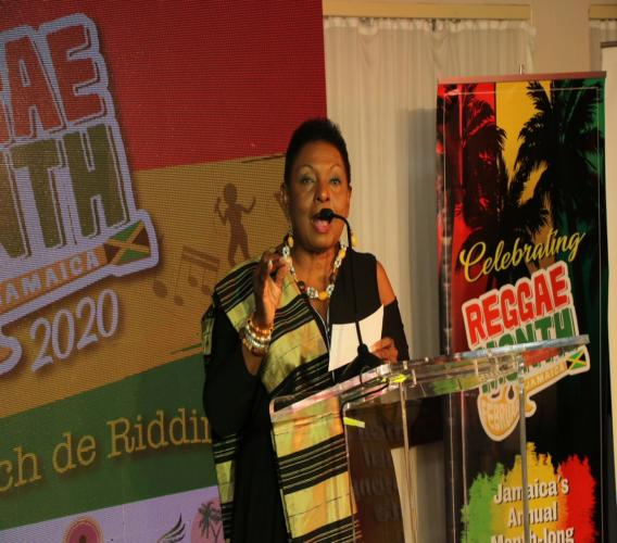 Olivia Grange, Minister of Culture, Gender, Entertainment and Sport, speaks at the launch of Reggae Month.