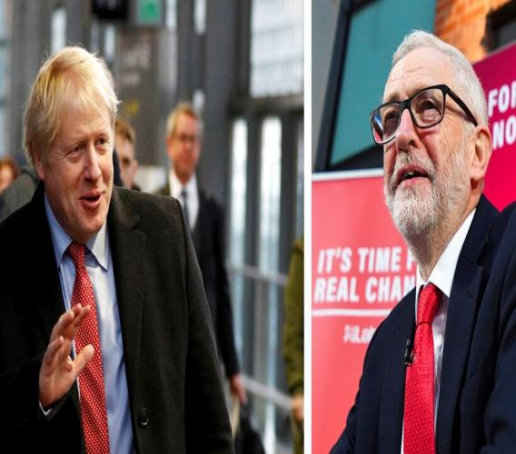At left, Britain's Prime Minister Boris Johnson arrives to board a train in London, Friday Dec. 6, 2019, and at right, Britain's Labour Party leader Jeremy Corbyn speaks during a press conference in London, Friday, Dec. 6, 2019. (AP Photo combo)
