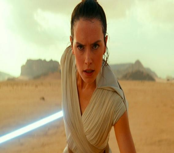 """This image released by Disney/Lucasfilm shows Daisy Ridley as Rey in a scene from """"Star Wars: The Rise of Skywalker."""" (Disney/Lucasfilm Ltd.)"""