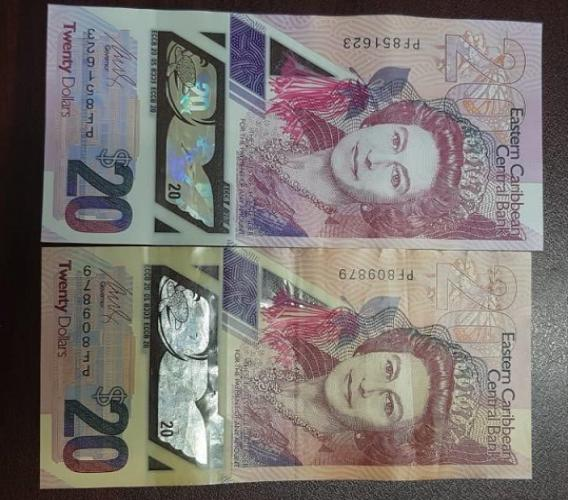 Authentic note (top), counterfeit note (bottom)
