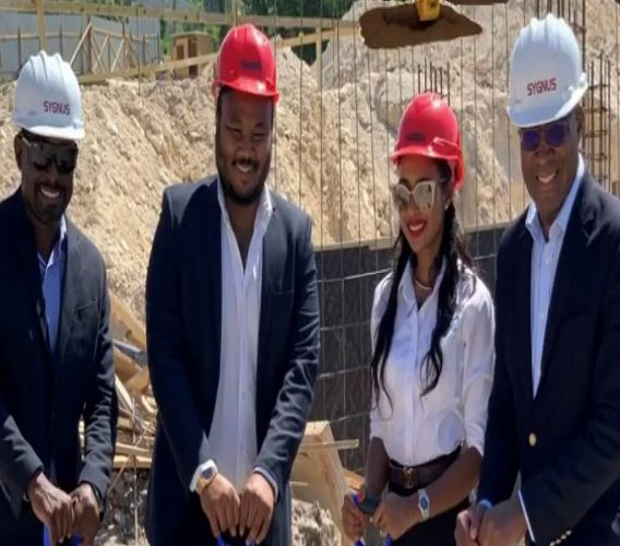 From L-R: Ike Johnson,  Sygnus Co-founder; Matthew and  Danielle Donaldson developers and David Cummings head of Sygnus Group real estate during a groundbreaking at the property recently.