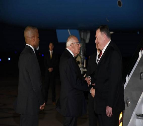 US Secretary of State, Mike Pompeo (right) greets US Ambassador to Jamaica Donald Tapia upon arrival at the Norman Manley International Airport in Kingston, Jamaica on Tuesday evening. Pompeo is in Jamaica for a two-day visit with select Caribbean leaders. (Photo: JIS)