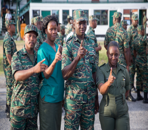 Members of the Guyana Defence Force after they participated in the special voting on Friday. Photo: Department of Public Information Guyana.