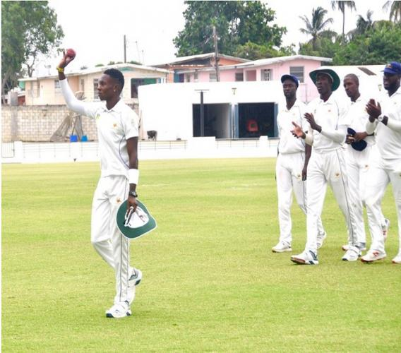 Fast bowler Keon Harding of Barbados Pride celebrates his career-best spell against Trinidad and Tobago Red Force.
