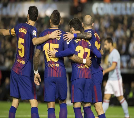Barcelona players celebrating,