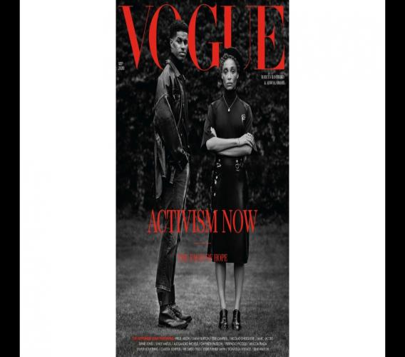 In this image made available Thursday Aug. 6, 2020, by British Vogue magazine, showing the September 2020 issue devoted to activism, with a cover featuring two Black activists and produced by a predominantly Black team. (Original photography by Misan Harriman/Vogue Magazine via AP)