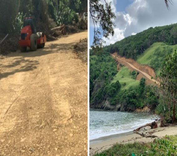 Photos: A clearing for a roadway was seen by people visiting the area in recent days. Environment Tobago has called for an investigation into the incident; the group said it was told no Certificate of Environmental Clearance was issued for a road in that area. Photos: Lystra Burkhart.