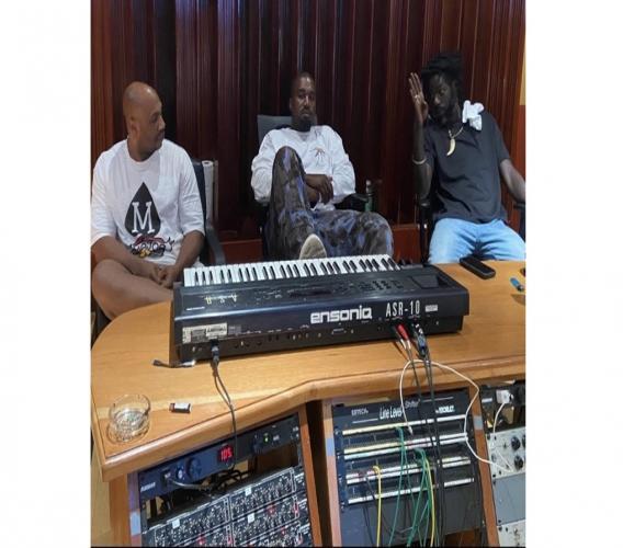 "American rapper Kanye West (centre) with reggae icon Buju Banton (right) and Roc-A-Fella Records co-founder Kareem ""Biggs"" Burke at Banton's Gargamel studio in Jamaica."