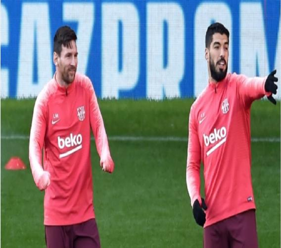Lionel Messi (left) and Luis Suarez at a training session.