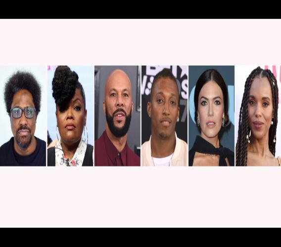 The combination photo shows, from left, W. Kamau Bell, Yvette Nicole Brown, Common, Lecrae, Mandy Moore and Kerry Washington. For months, actors, sports stars, musicians and other celebrities have been using their platforms to call for justice in the police shooting death of Breonna Taylor. After a grand jury indicted one of the Kentucky police officers on criminal charges, but not for her death, celebrities reacted to the news mostly negatively. Photo: AP
