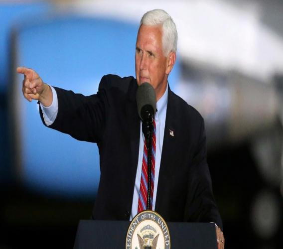 United States Vice President, Mike Pence, speaks to supporters on Saturday, October 24, 2020 in Tallahassee, Florida.