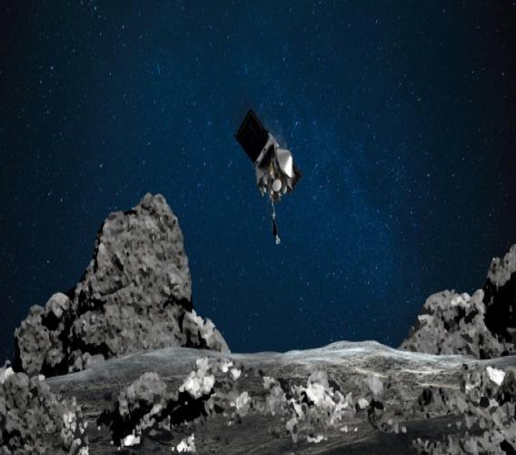 Représentation graphique de la sonde OSIRIS-REx descendant vers l'astéroïde Bennu, par la Nasa