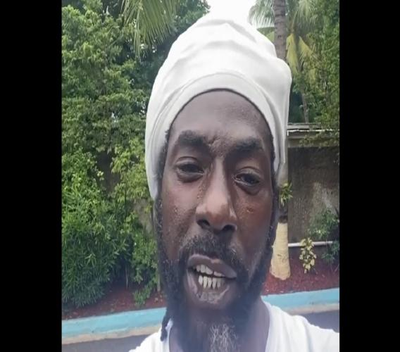 A screen grab of Buju Banton in his recent anti-mask wearing rant on video.