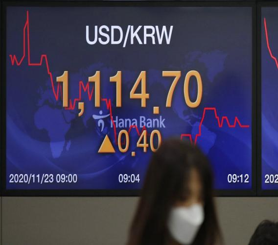 A currency trader walks by a screen showing the foreign exchange rate between U.S. dollar and South Korean won at the foreign exchange dealing room in Seoul, South Korea, Monday, November 23, 2020. (AP Photo/Lee Jin-man)