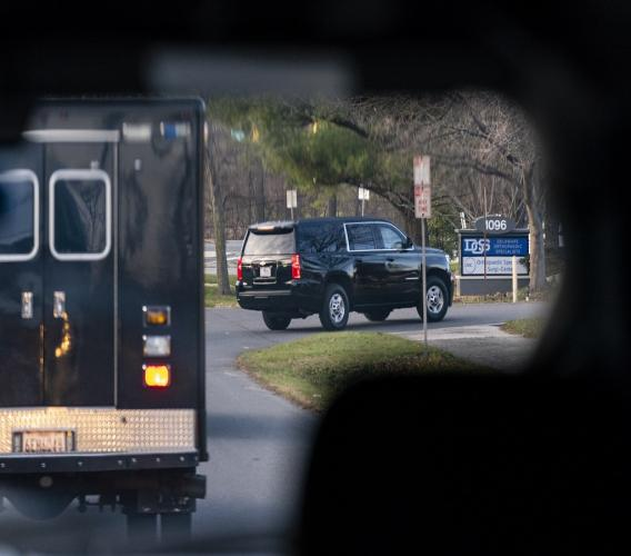 A motorcade with President-elect Joe Biden aboard arrives at Delaware Orthopaedic Specialists to see a doctor, Sunday, November 29, 2020, in Newark, Del. Biden slipped while playing with his dog, Major, and twisted his ankle. (AP Photo/Carolyn Kaster)