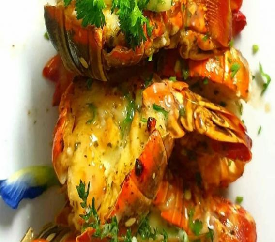Delicious lobster from our friends at Cayman Cabana