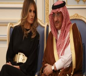 First Lady Melania Trump talks with Saudi Crown Prince Muhammad bin Nayef during a ceremony to present The Collar of Abdulaziz Al Saud Medal to President Donald Trump, at the Royal Court Palace, Saturday, May, 20, 2017, in   Riyadh.