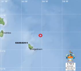 The earthquake was 98 km northeast of Barbados.