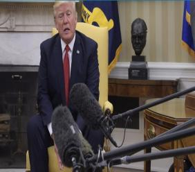 President Donald Trump speaks in the Oval Office of the White House in Washington, Thursday, May 18, 2017, during his meeting with Colombian President Juan Manuel Santos.