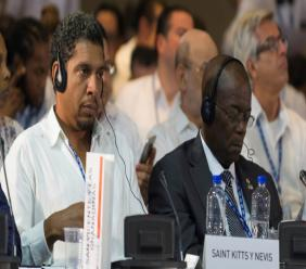 Representatives from St. Vincent and the Grenadines and St. Kitts & Nevis at the OAS 29th Consultation Meeting for Foreign Ministers in Cancun, Mexcio on June 19, 2017. (Photo: OAS)