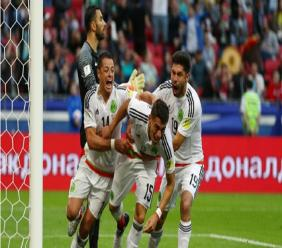 Hector Moreno (C) celebrates scoring for Mexico against Portugal in their Confederations Cup match in Russia on Saturday.