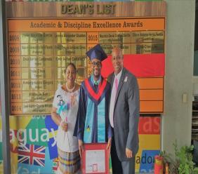 Theresa Blasse St. Clair (l), Jelani Tristan Michael St. Clair (c), His Excellency Mr. Hubert Emmanuel (r), Ambassador of St. Lucia to R.OC.-Taiwan.