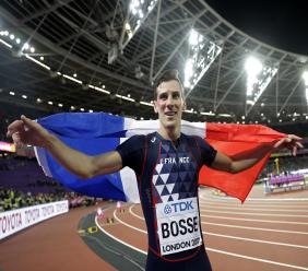 In this Tuesday, Aug. 8, 2017 file photo, France's Pierre-Ambroise Bosse celebrates after winning the gold medal in the men's 800-metre final during the World Athletics Championships in London.