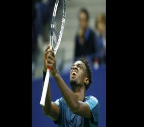 Darian King, of Barados, reacts after missing a shot during the first set of his opening round match against Alexander Zverev, of Germany, at the U.S. Open tennis tournament in New York. (AP Photo)