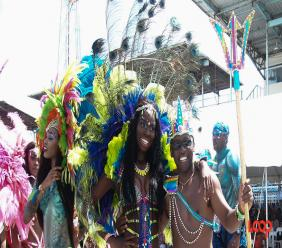Culture Minister Stephen Lashley takes part in Grand Kadooment on Monday.