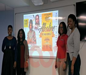 (second from left) Rep of Les Iles Entertainment, Danielle Singh with sponsors Elease August of Swift Pac, Dawn Yearwood of Brydens Stokes and De Carla Applewhaite of TicketPal.