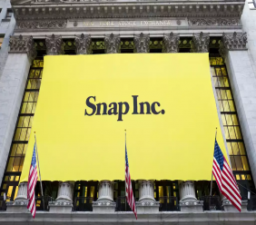 In this Thursday, March 2, 2017, file photo, a banner for Snap Inc. hangs from the front of the New York Stock Exchange, in New York. (AP Photo/Mark Lennihan, File)