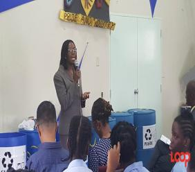 Registrar Barbara Cooke-Alleyne talking to the students