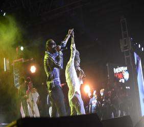 Jamaican entertainers Bounty Killer (left) and Sizzla bring the curtains down at the Caribbean Love Now Jamathon benefit concert in Kingston on Wednesday ight. (PHOTOS: Marlon Reid)