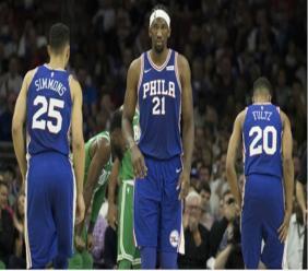 Joel Embiid (21), Ben Simmons and Markelle Fultz of Philadelphia 76ers.
